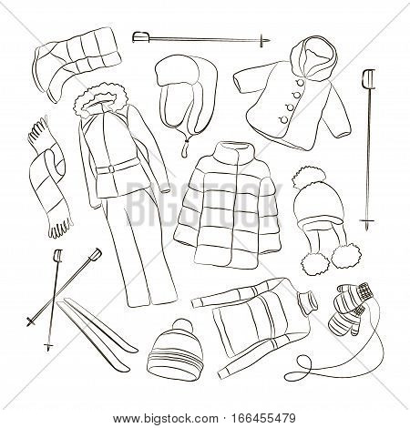 Set of warm winter clothes design. Scarf and winter fashion, hat, winter coat, cloth and hat, jacket and glove, coat, outerwear seasonal illustration