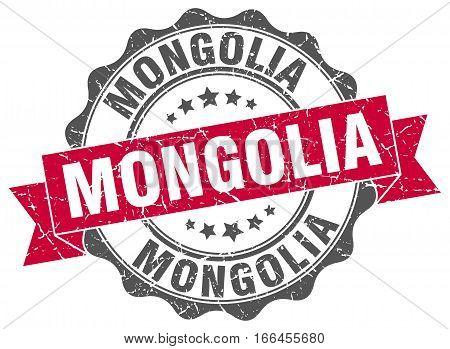 Mongolia. round isolated grunge vintage retro stamp