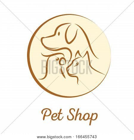 Pet shop logo with dog cat parrot head silhouette in a circle. Stock vector illustration for domestic animals services.