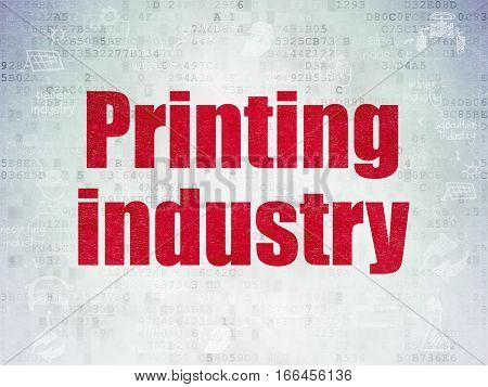 Industry concept: Painted red text Printing Industry on Digital Data Paper background with  Scheme Of Hand Drawn Industry Icons