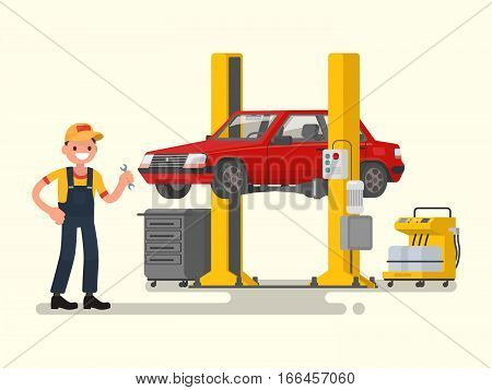 Car repair. Auto mechanic near the car lifted on autolifts. Vector illustration of a flat design