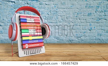 E-boock Learning Languages Online 3D Render On Gradient Success Knowlage Concept