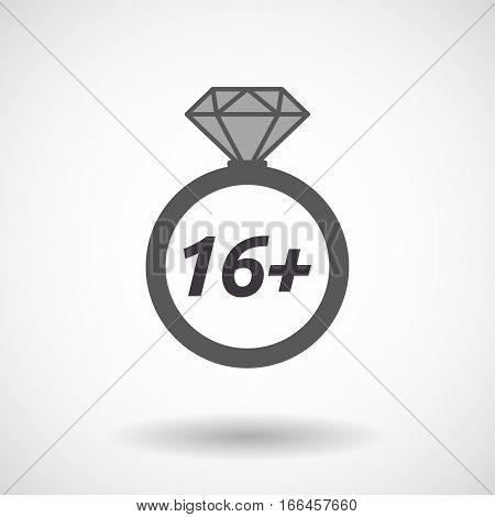 Isolated Ring With    The Text 16+