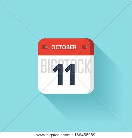 October 11.  Isometric Calendar Icon With Shadow. Vector Illustration, Flat Style. Month and Date