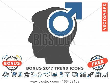 Cobalt And Gray Intellect Potency pictograph with bonus 2017 year trend clip art. Vector illustration style is flat iconic bicolor symbols, white background.
