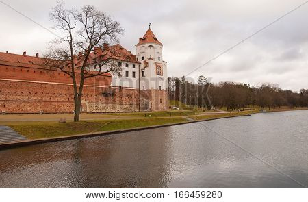 Mir Castle - fortification and residence in the urban village of Mir in Belarus. Architectural, declared a UNESCO World Heritage Site. Belarus, Mir. January 11, 2014
