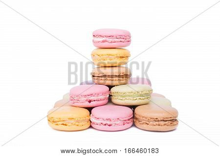 Pyramid Of Colorful Macaroons Dessert Isolated On White Background