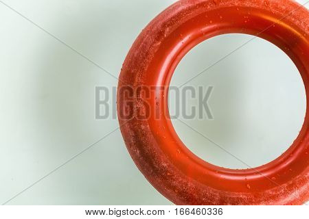 Red Life Ring at the Swimming Pool Close Up