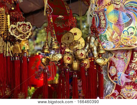 chinese traditional gold decor for lunar new year close up selective focus