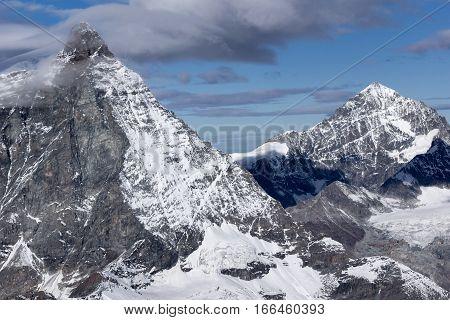 Panoramic view of mount Matterhorn, Canton of Valais, Alps, Switzerland