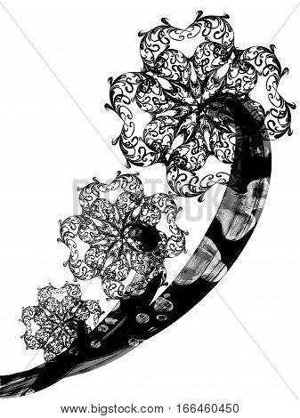 Floral Style Textured Line Flower Monochrome Ornament Background, Beautiful Flower Set Texture Backd