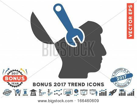 Cobalt And Gray Mind Wrench Surgery pictogram with bonus 2017 year trend symbols. Vector illustration style is flat iconic bicolor symbols, white background.