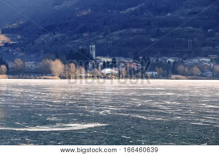 Lake Endine in the province of Bergamo completely frozen - Italy