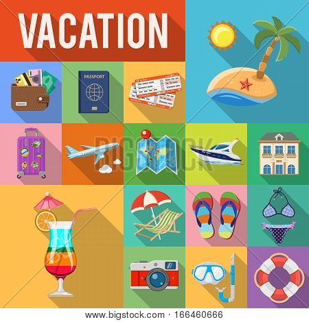 Vacation and Tourism Flat Icons Set with Long Shadow on Square like Boat, Cocktail, Island, Aircraft and Suitcase. vector illustration