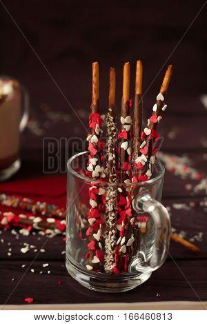 Valentines Day Dessert And Hot Chocolate
