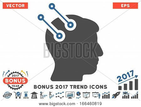 Cobalt And Gray Neural Interface Connectors icon with bonus 2017 year trend pictograms. Vector illustration style is flat iconic bicolor symbols, white background.