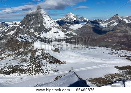 Panorama of mount Matterhorn covered with clouds, Canton of Valais, Alps, Switzerland