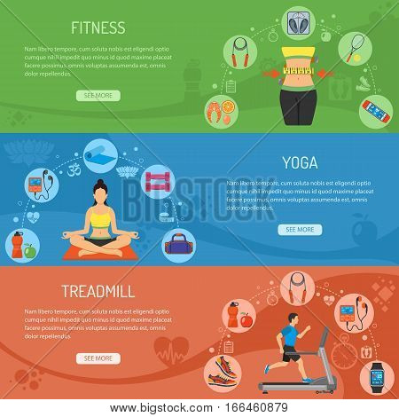 Yoga, Fitness and Gym Horizontal Banners with Flat Icons Treadmill, scales, waistline and gadgets. vector illustration