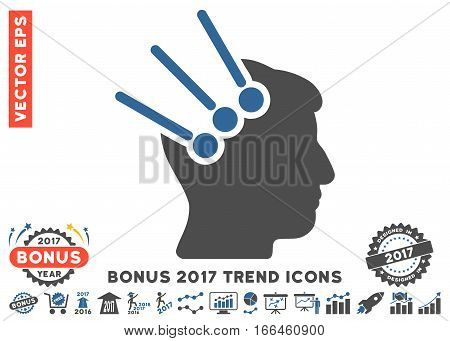 Cobalt And Gray Neural Interface Connectors icon with bonus 2017 year trend pictures. Vector illustration style is flat iconic bicolor symbols, white background.