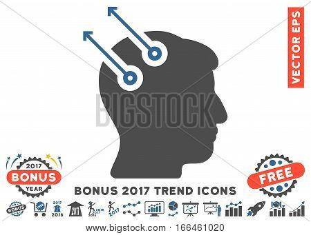 Cobalt And Gray Neural Interface Plugs pictograph with bonus 2017 trend images. Vector illustration style is flat iconic bicolor symbols, white background.
