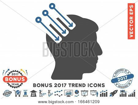 Cobalt And Gray Neuro Interface pictogram with bonus 2017 year trend icon set. Vector illustration style is flat iconic bicolor symbols, white background.