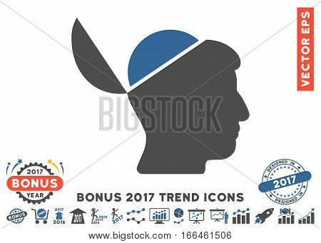 Cobalt And Gray Open Brain pictograph with bonus 2017 trend images. Vector illustration style is flat iconic bicolor symbols, white background.
