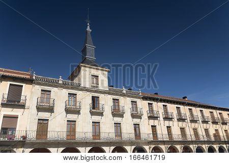 Leon (Castilla y Leon Spain): historic buildings in Plaza Mayor the main square of the city