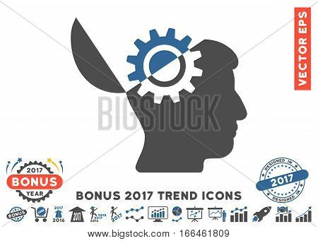 Cobalt And Gray Open Mind Gear icon with bonus 2017 year trend pictograms. Vector illustration style is flat iconic bicolor symbols, white background.