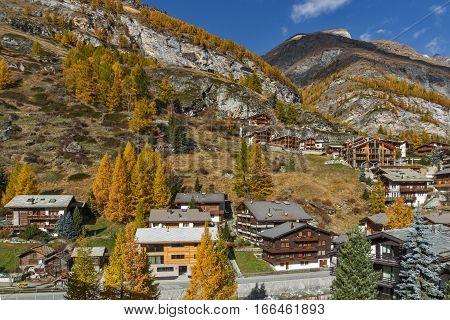 Amazing Autumn Panorama to Zermatt, Canton of Valais, Switzerland