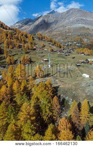 Amazing Autumn panorama near Zermatt, Canton of Valais, Switzerland