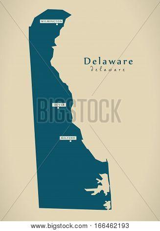 Modern Map - Delaware Usa Illustration Silhouette