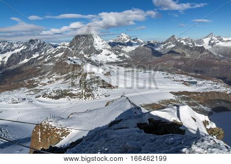 Panoramic view of mount Matterhorn covered with clouds, Canton of Valais, Alps, Switzerland