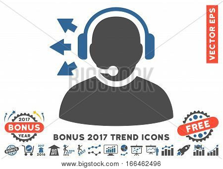 Cobalt And Gray Operator Answer Speech icon with bonus 2017 year trend icon set. Vector illustration style is flat iconic bicolor symbols, white background.