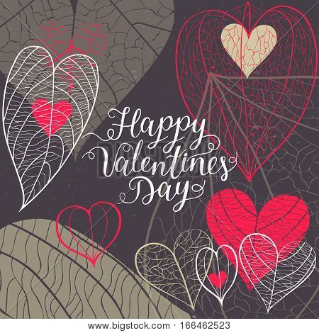 Concept of the square greeting card on Valentine's Day 14 February. Different hand drawn hearts from leaves with veins and physalis and holiday handwritten inscription on black background.