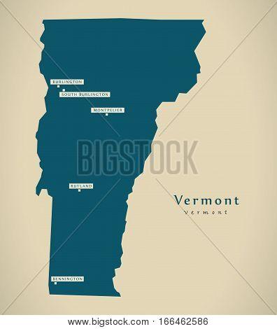 Modern Map - Vermont Usa Illustration Silhouette