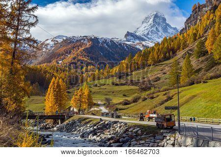 Amazing Autumn view of Mount Matterhorn, Canton of Valais, Switzerland