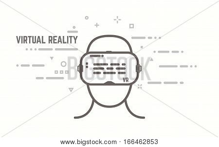 Virtual reality headset display with human head. Thick lines and flat style illustration. VR head display with switch and lines.
