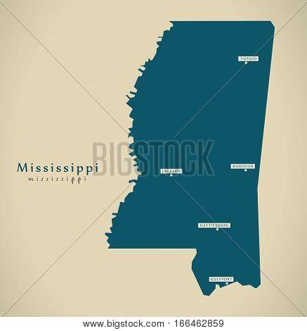 Modern Map - Mississippi Usa Illustration Silhouette