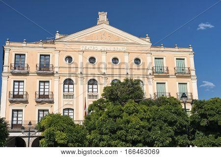 Segovia (Castilla y Leon Spain): historic buildings in the square known as Plaza Mayor: Juan Bravo Theater