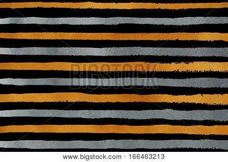Golden And Silver Grunge Stripe Pattern.