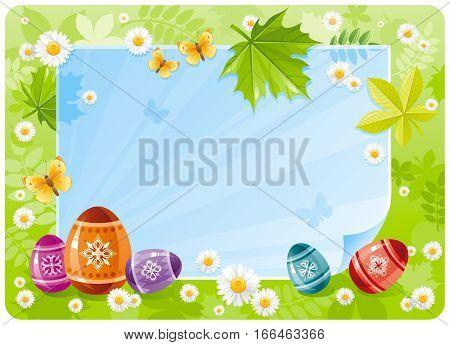 Happy Easter banner border. Spring scene, green grass, blue sky, rainbow egg, daisy, leaf. Springtime nature. Paper sheet copyspace. Vector illustration. Flat greeting card background. Template design