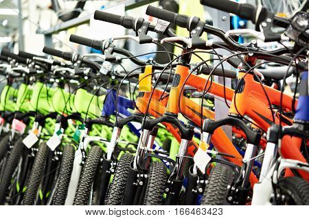 The modern mountain bikes in sports shop