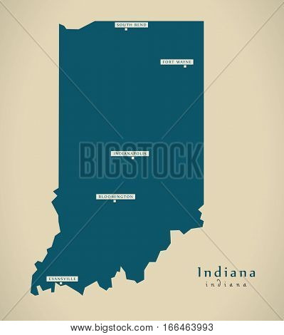 Modern Map - Indiana Usa Illustration Silhouette