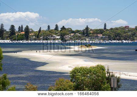 Point Walter Sandbar stretches out into the Swan River near Fremantle, Western Australia. - Perth