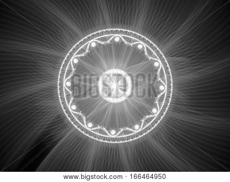 Glowing magical mandala fractal computer generated abstract intensity map