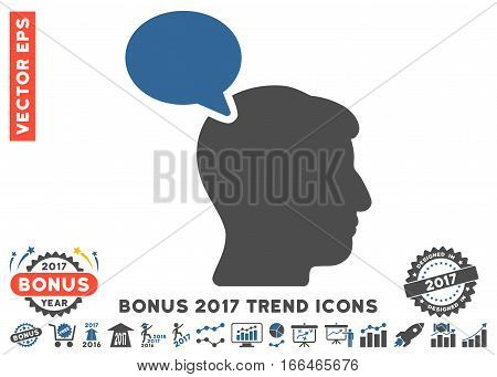 Cobalt And Gray Person Opinion pictogram with bonus 2017 trend icon set. Vector illustration style is flat iconic bicolor symbols, white background.