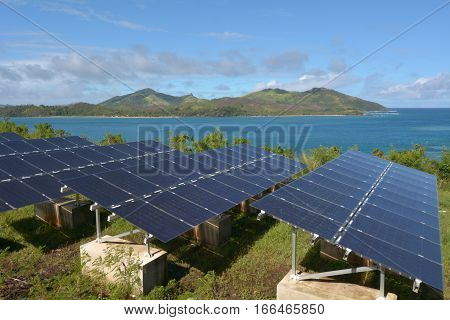 Solar PV modules on remote Island in Fiji. Fiji Sustainable Energy goals include sourcing more than 80% of the country