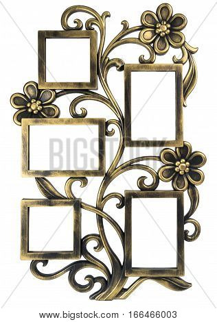Antique golden photo frame with elements of floral forged ornament. Set 5 five frames. isolated on white background with empty space