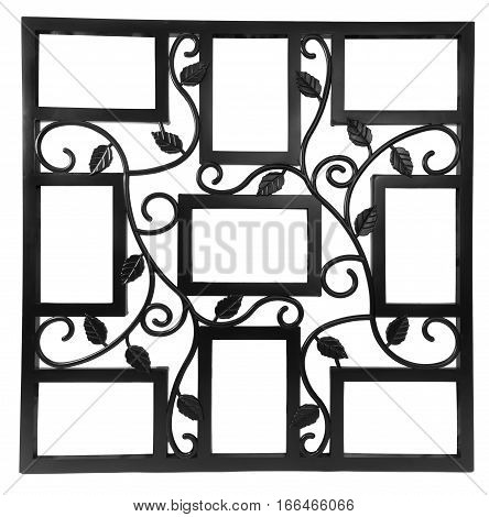 Antique black photo frame with elements of floral forged ornament. Set 9 nine frames. isolated on white background with empty space