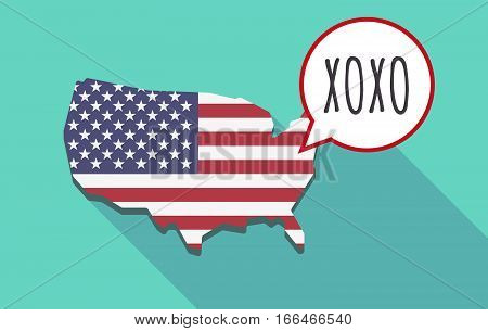 Long Shadow Usa Map With    The Text Xoxo